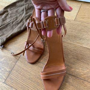 Ferragamo Tan Curved Heel Sandals